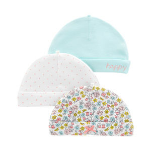 Carters Baby Girl 3-pk Hats Floral Cotton 0-3 Mon